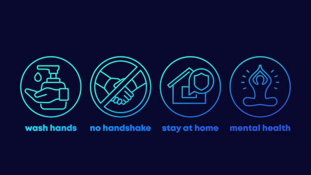 Stop coronavirus advices, wash hands, stay at home line icons Premium Vector