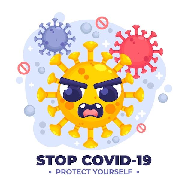 怒っているウイルスでコロナウイルスの概念を止める 無料ベクター