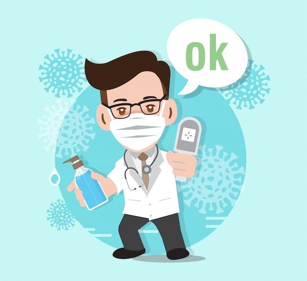 Stop coronavirus , doctor fighting against coronavirus ,  illustration Premium Vector
