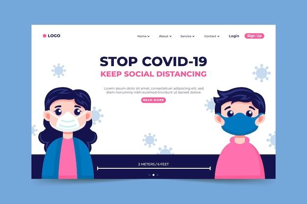 コロナウイルスのランディングページを停止する 無料ベクター