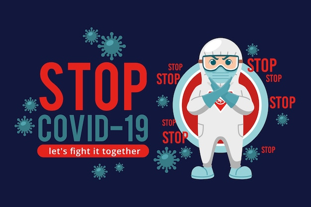 Stop coronavirus let's fight together Free Vector