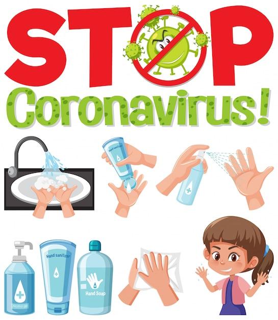 Остановить логотип коронавируса рукой, используя дезинфицирующие средства Premium векторы