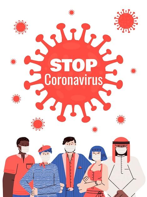 マスクをした人と一緒にコロナウイルスのプラカードを止めてください。 Premiumベクター