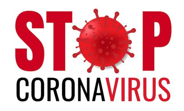 Стоп коронавирус плакат с текстом   Премиум векторы