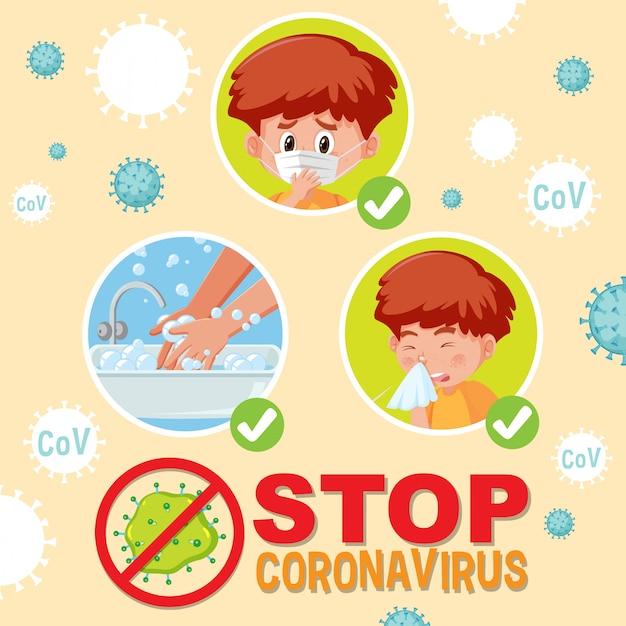 Остановить коронавирус с мальчиком, который сделает шаг по предотвращению коронавируса Premium векторы