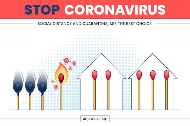 Stop coronavirus with matches Free Vector