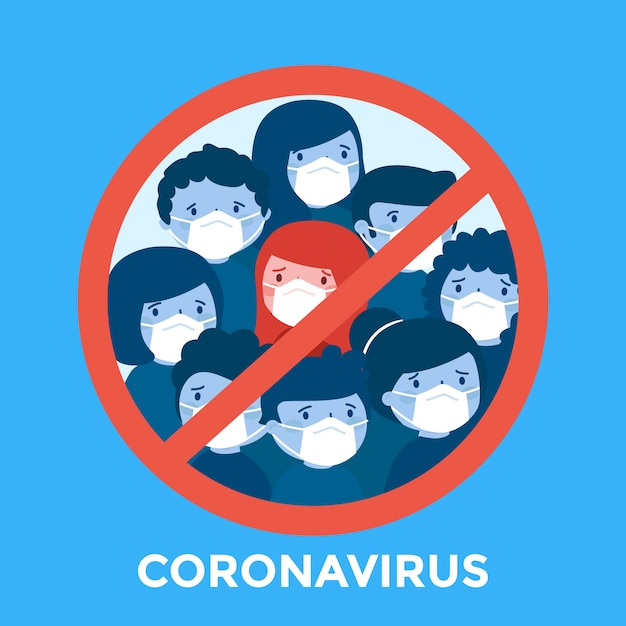 Stop coronavirus with people Free Vector