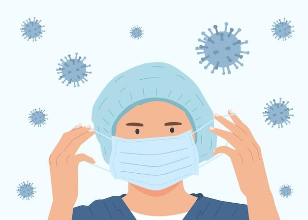 Остановите коронавирус. женщина как врач или медсестра. иллюстрация вспышки  коронавируса. пандемия медицинская концепция с опасными клетками. | Премиум  векторы