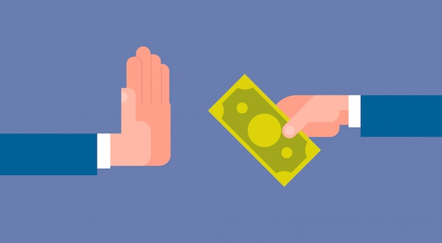 Stop corruption concept hand giving business man money Premium Vector