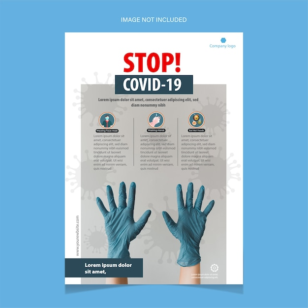 Fermare il modello di volantino covid-19 con guanti blu Vettore gratuito
