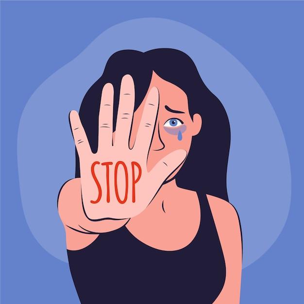 Ferma il concetto di violenza di genere Vettore gratuito