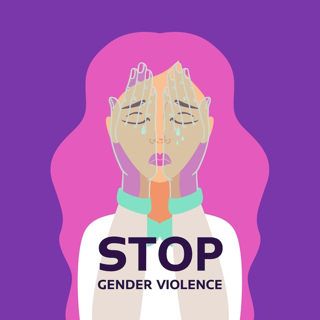 Stop gender violence discrimination concept Free Vector