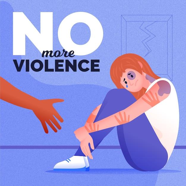 Stop gender violence illustration theme Free Vector