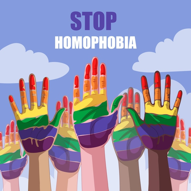 Ferma il concetto di omofobia Vettore gratuito