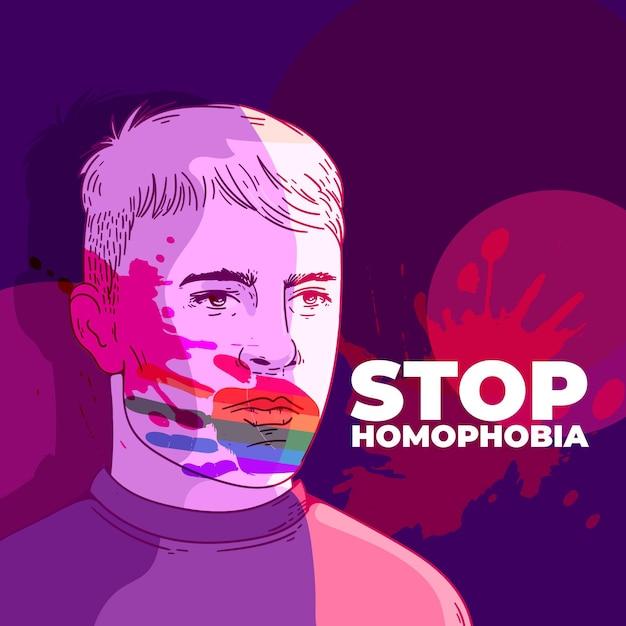 Stop homophobia concept Free Vector
