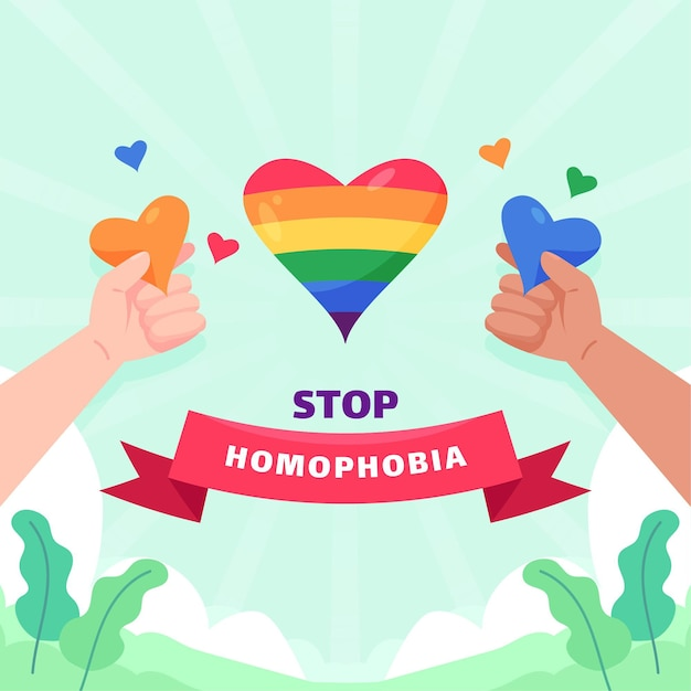 Stop homophobia illustrated concept Free Vector