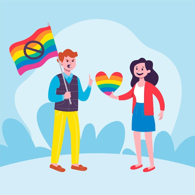 Stop homophobia illustration design Free Vector