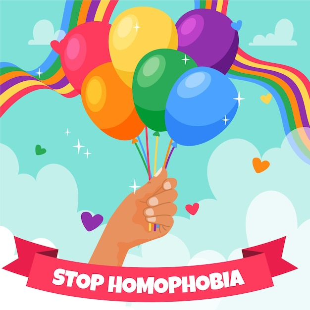 Stop homophobia with hand holding rainbow balloons Free Vector