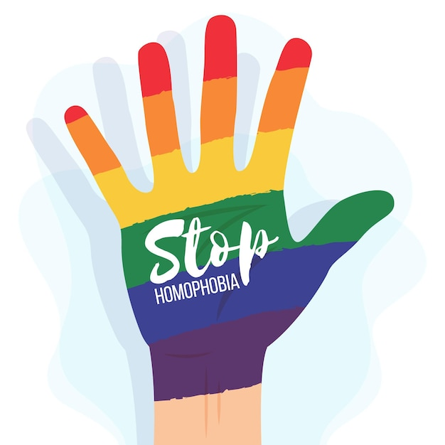 Stop homophobia with rainbow hand Free Vector