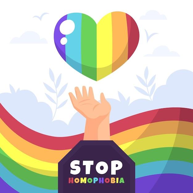 Stop homophobia with rainbow heart Free Vector