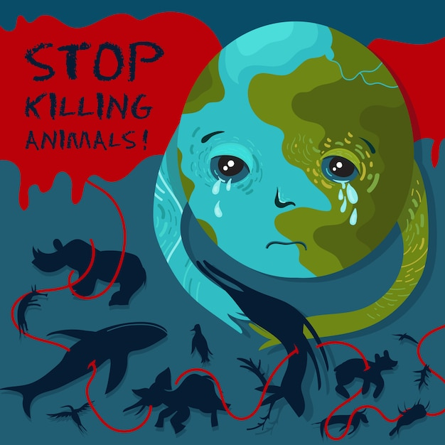 Stop killing animals. vector conceptual zoo protection illustration Premium Vector