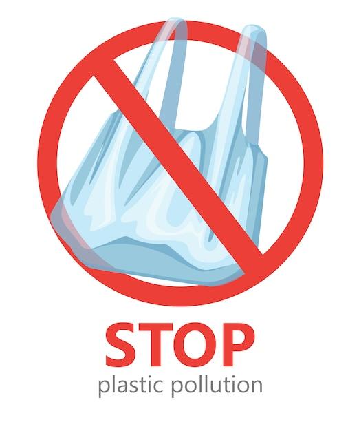 プラスチック汚染を止めます。ビニール袋のシンボルはありません。エコロジーロゴを保存しています。白い背景の上の図 Premiumベクター