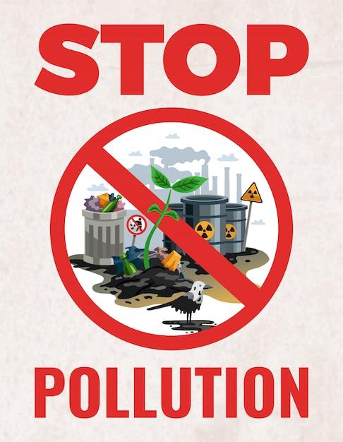 Smettere di segno di inquinamento Vettore gratuito
