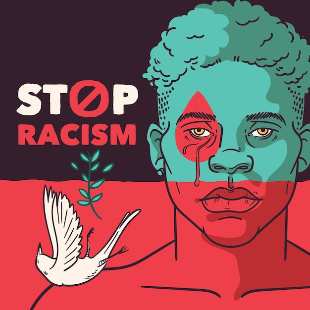 Stop racism black man and pigeon Free Vector