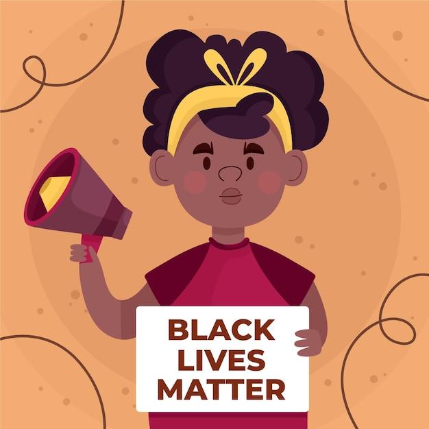 Stop racism concept girl with megaphone Premium Vector