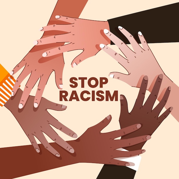 Stop racism illustration concept Free Vector