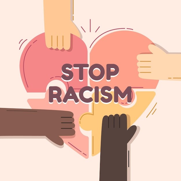 Stop racism illustration theme Free Vector