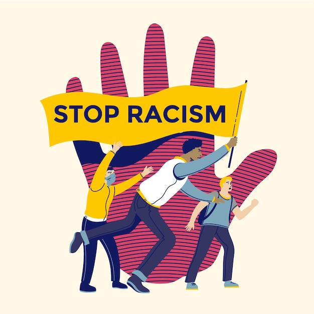 Stop racism illustration Free Vector