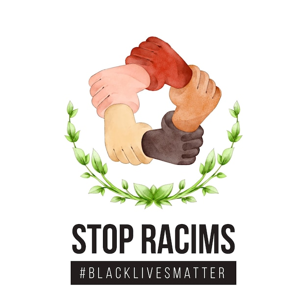 Stop racism with hands Free Vector