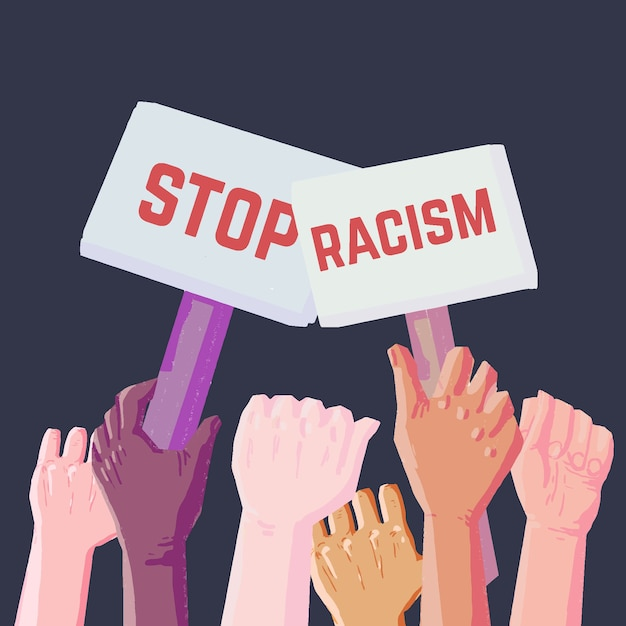 Stop racism with people holding placards Free Vector