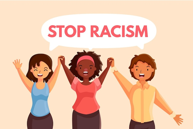 Stop racism with women Free Vector