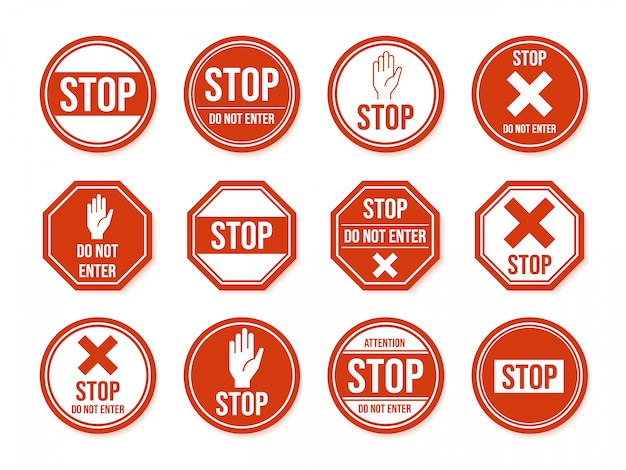 Stop road sign. traffic road stop symbol, dangerous, restricted urban and highway symbols, warning direction signs   icon set. beware and forbid pictograms Premium Vector
