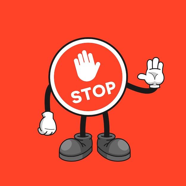 Стоп знак мультипликационный персонаж с жестом стоп рукой Premium векторы