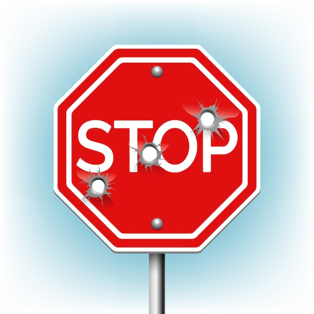 Stop sign with bullet holes. warning and danger, bullethole and aperture, perforation roadsign Free Vector