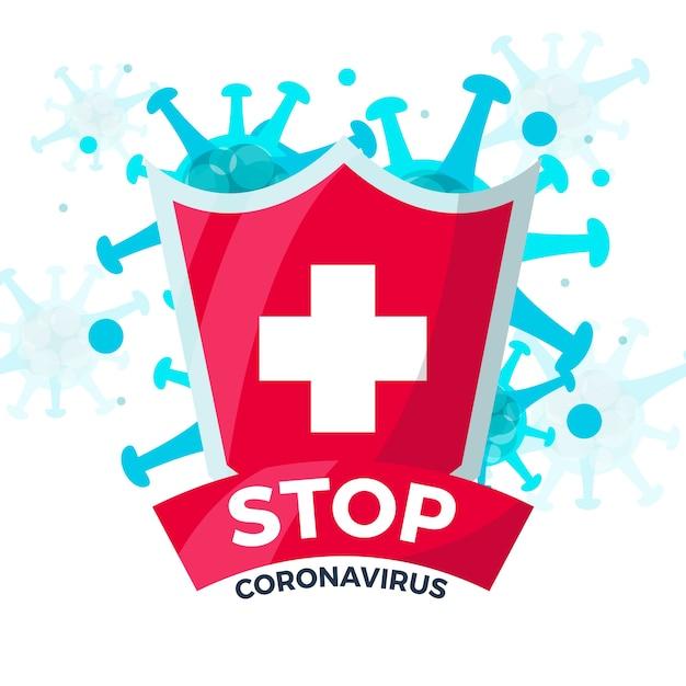 コロナウイルスのデザインで一時停止の標識 無料ベクター