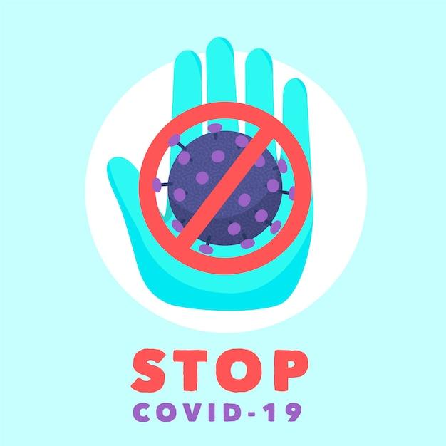 Segnale di stop con coronavirus Vettore gratuito