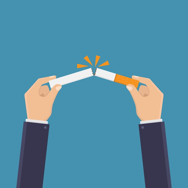 Stop smoking, break a cigarette Premium Vector