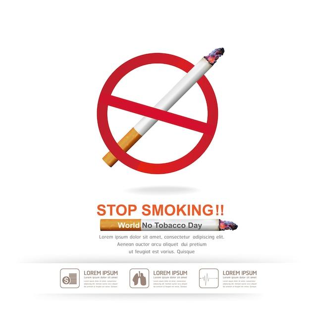 Бросьте курить концепция на фоне всемирного дня без табака. Premium векторы