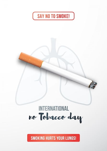 現実的なタバコの喫煙の概念を停止します。 Premiumベクター