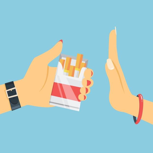 Бросьте курить концепции. женщина рука отказаться от сигареты из коробки. бросьте вредную привычку и откажитесь от предложения табака. иллюстрация Premium векторы