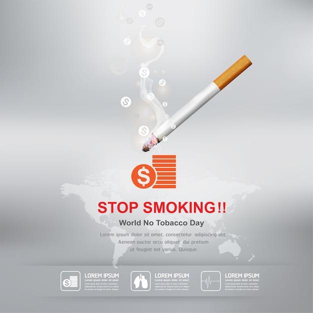 禁煙コンセプト世界禁煙デー Premiumベクター