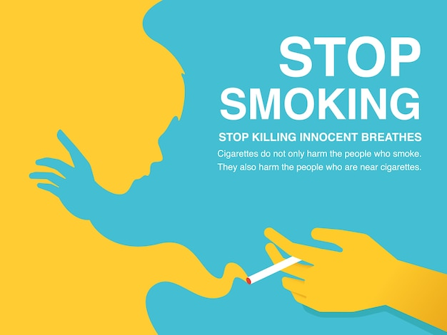 Stop smoking illustration poster. Premium Vector