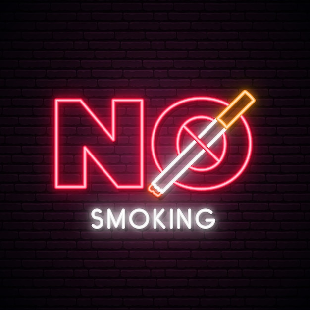 Stop smoking neon sign. Premium Vector