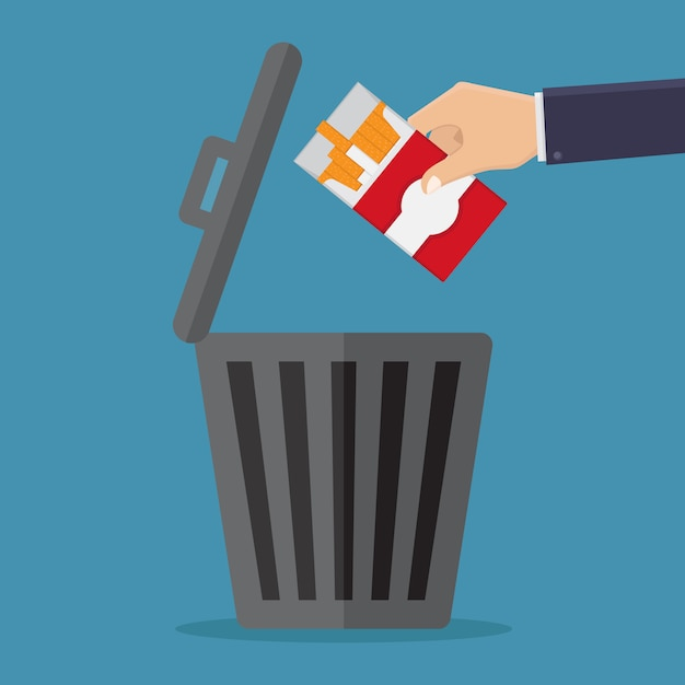 Stop smoking, throw cigarettes in the trash Premium Vector