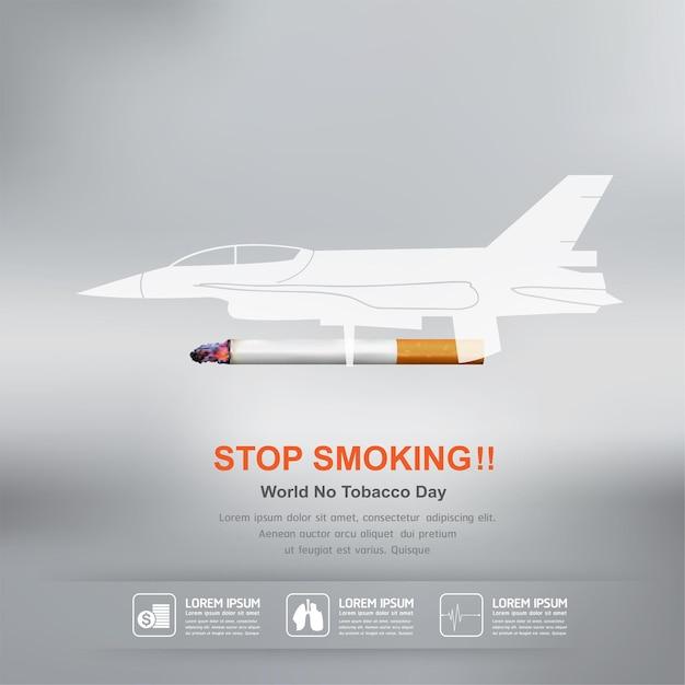 Бросить курить векторный концепт всемирный день без табака. Premium векторы