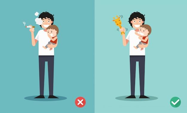 子供と一緒に喫煙をやめる Premiumベクター